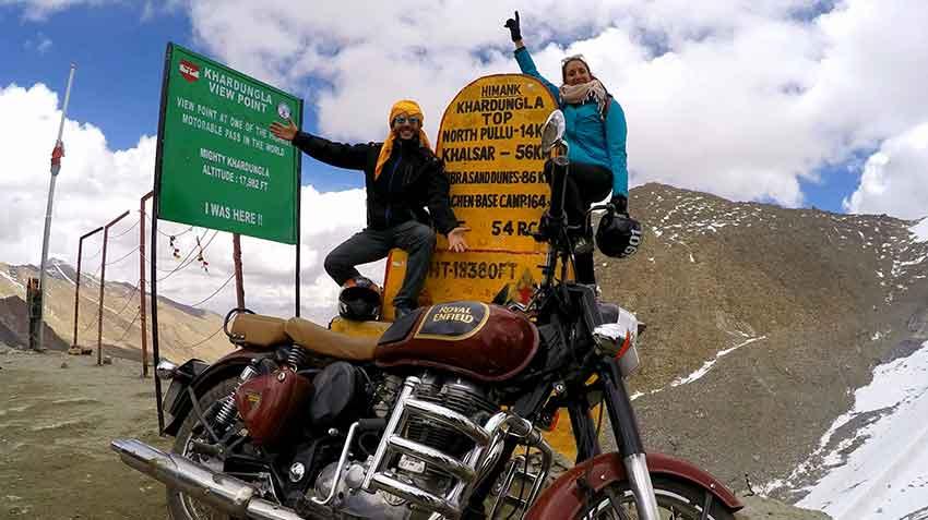 cima carretera khardung la leh india